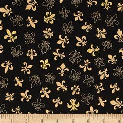 Fleur De Lis Metallic Gold on Black