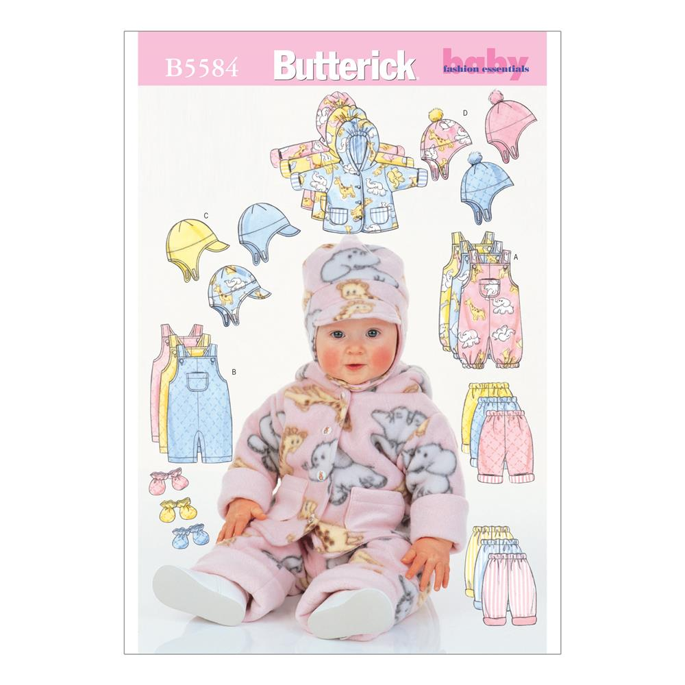 Butterick Infants' Jacket, Overalls, Pants, Hat and Mittens Pattern B5584 Size LRG