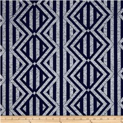 Indigo Blues Large Geometric Blue Fabric