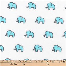Kaufman Little Safari Flannel Elephants Aqua