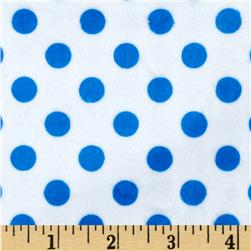 Minky Minnie Dots White/Royal Blue Fabric