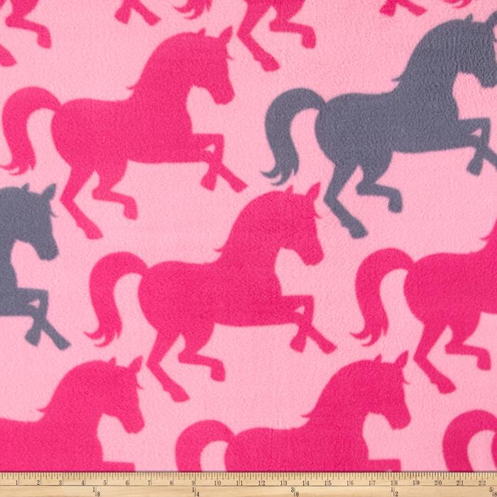 Simply Pretty Horses Fleece Hot Pink Fabric By The Yard