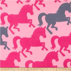 Simply Pretty Horses Fleece Hot Pink