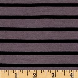 Rayon Spandex 1/2 X 1/4 Yarn Dyed Stripes Jersey Knit Shiitaki/Black