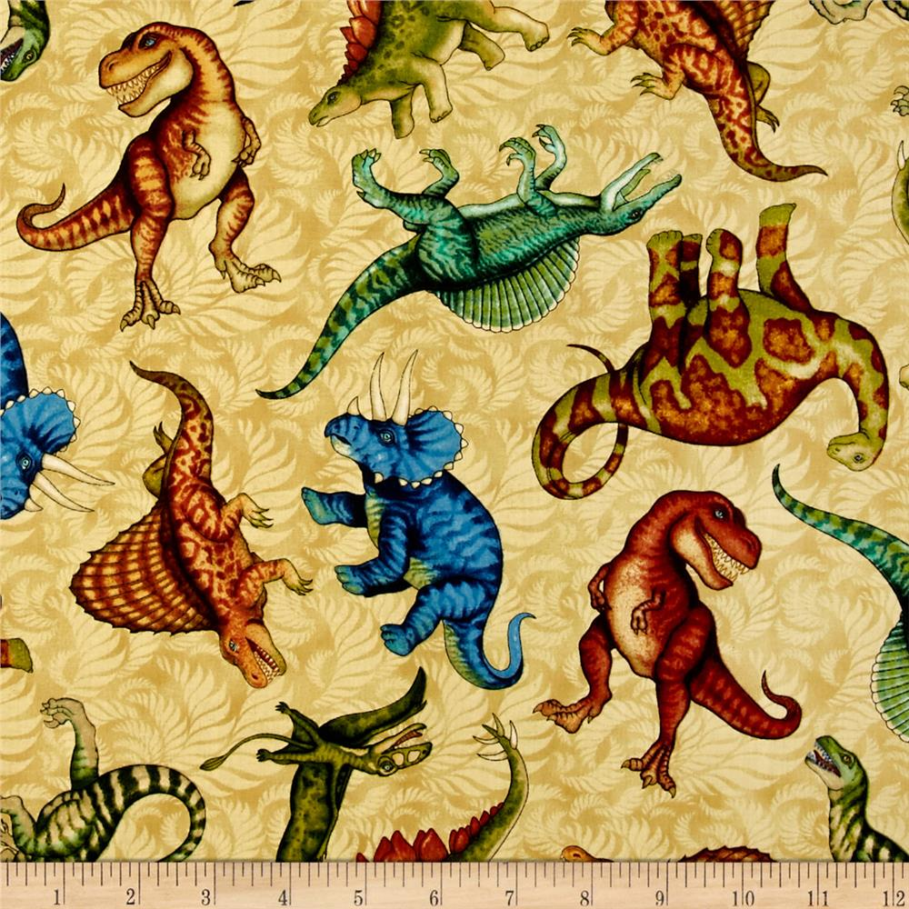 Jurassic jungle dinosaurs tan discount designer fabric for Dinosaur fabric