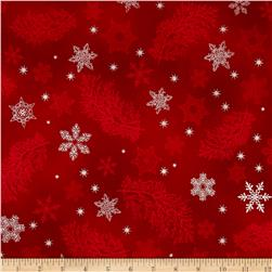 Kaufman Holiday Flourish Metallics Snowflake & Sprigs Red