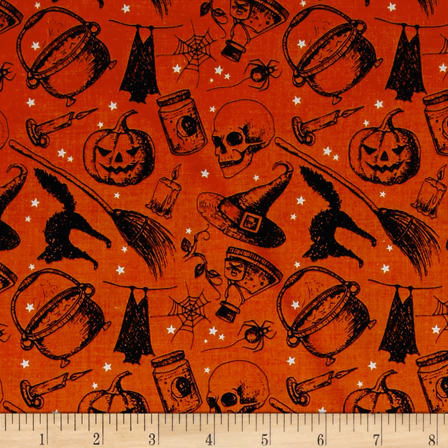 Image of Eat Drink & Be Scary Witches Brew Orange Fabric