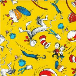 The Cat In The Hat Motifs Yellow Fabric