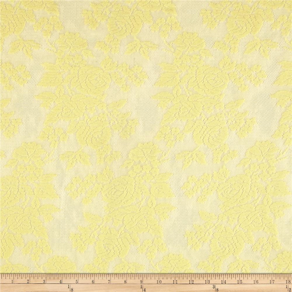 Stretch Lace Floral Textured Yellow