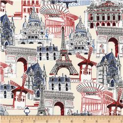 Kaufman Dream Vacation Paris Collage Natural