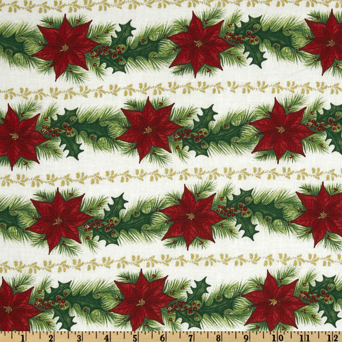Merry Christmas Poinsettia Garland Stripes Red/Green Fabric