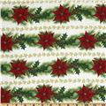 Merry Christmas Poinsettia Garland Stripes Red/Green