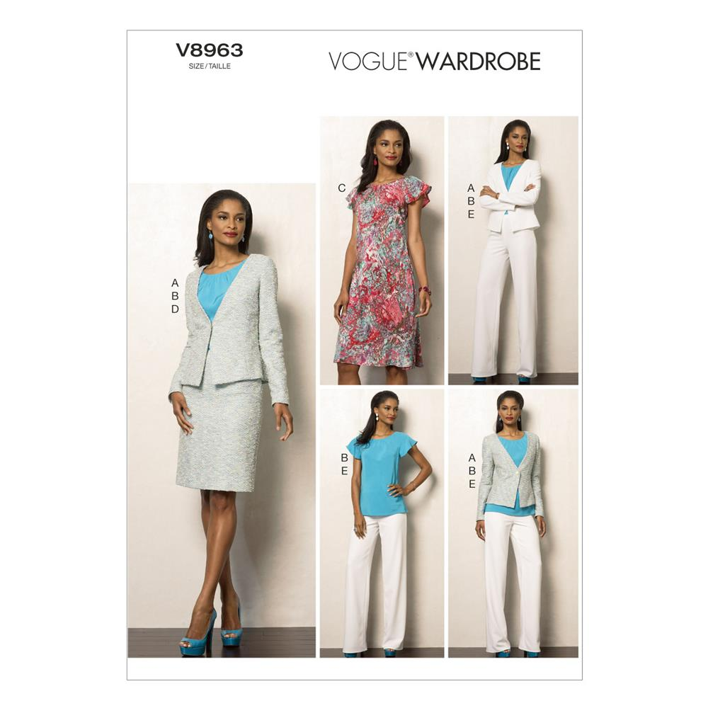 Vogue Misses' Jacket, Top, Dress, Skirt and Pants Pattern V8963 Size A50