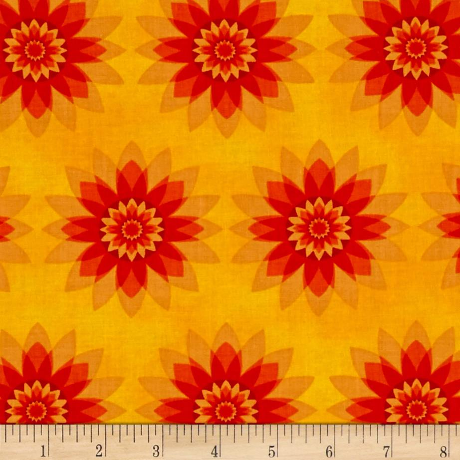 Calypso Allover Flowers Yellow/Red