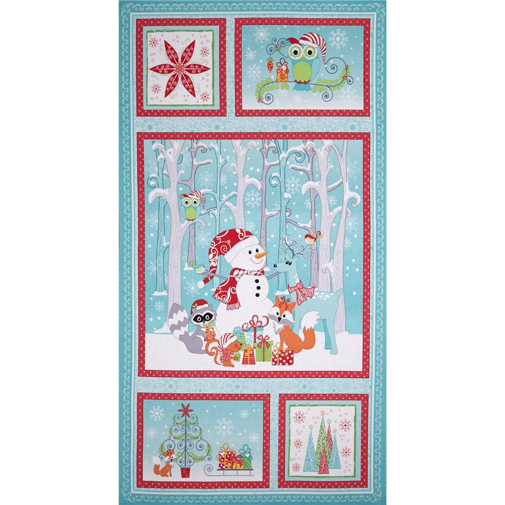 Frosty Forest 24 In. Panel Turquoise/Red