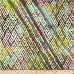 Indian Batik Montego Bay Leaf Metallic Aqua/Purple