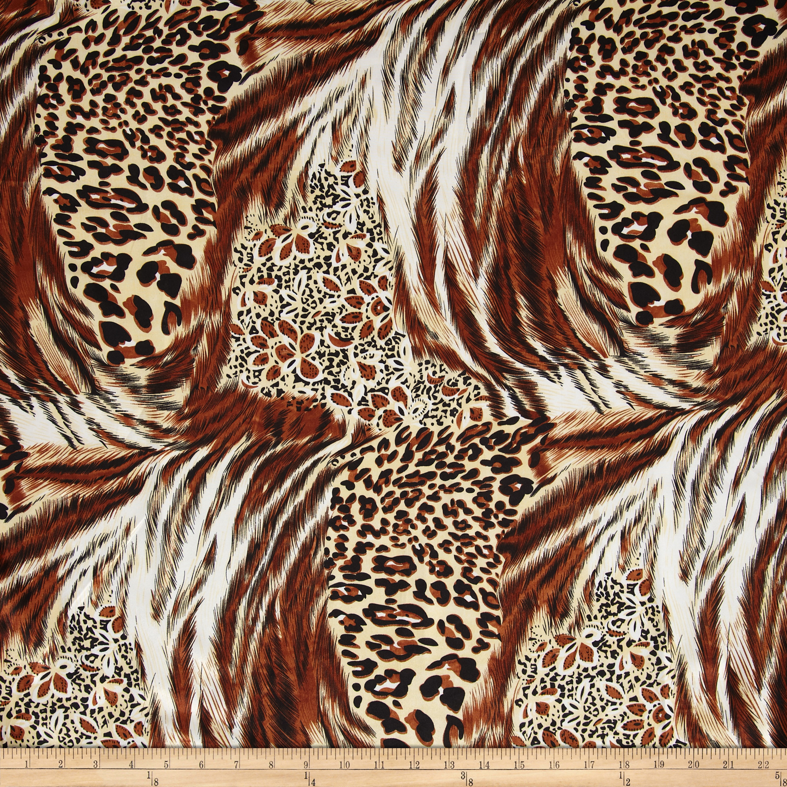 Charmeuse Satin Fur Brown/Tan Fabric