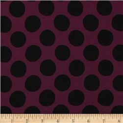 Designer Rayon Crepe Dots Purple/Black