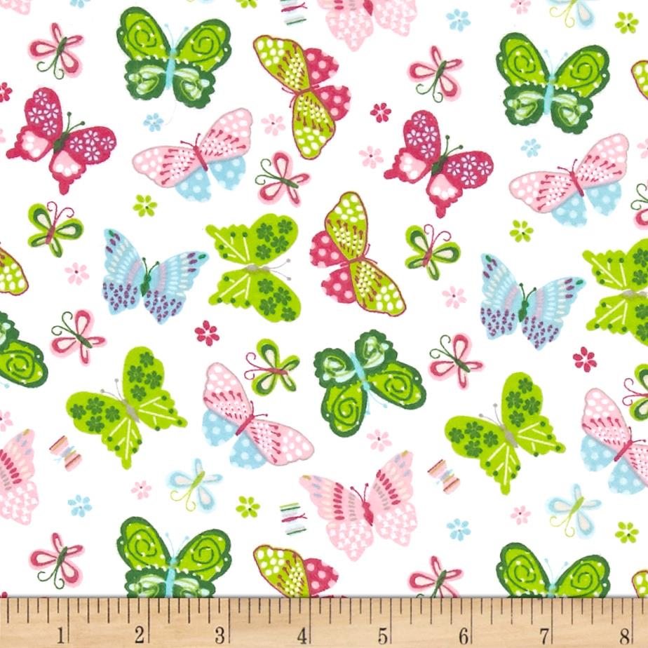 Comfy Flannel Butterflies Tossed White Fabric