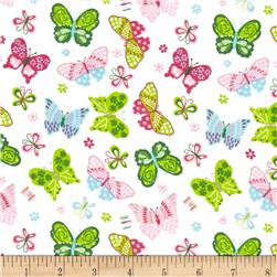 Comfy Flannel Butterflies Tossed White