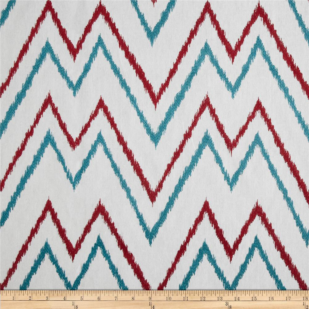Duralee Home Embroidered Levi Chevron Red/Blue