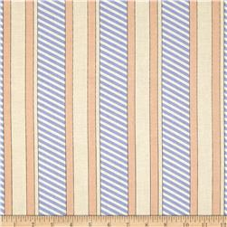 Kanvas Cabana Dotted Stripe Periwinkle/Peach Fabric