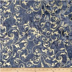Indian Batiks Metallic Scroll Navy Fabric