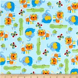 Zoo Mates Flannel Animal Allover Blue