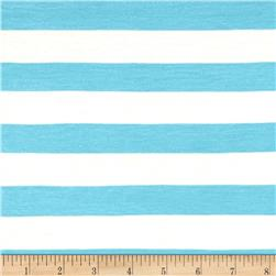 Yarn Dye Jersey Knit Stripe Sky Blue/White