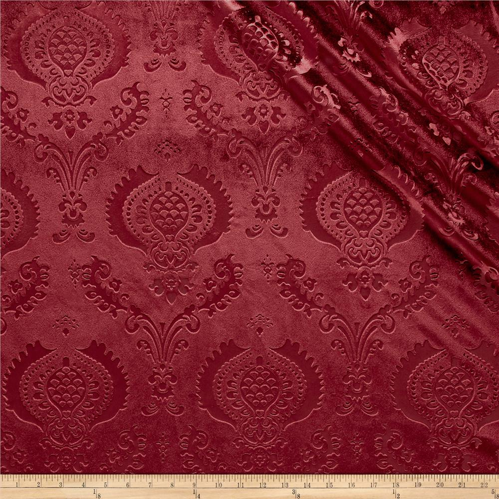 Damask Embossed Velvet Burgundy