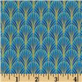 Timeless Treasures Dynasty Metallic Scale Geo Blue