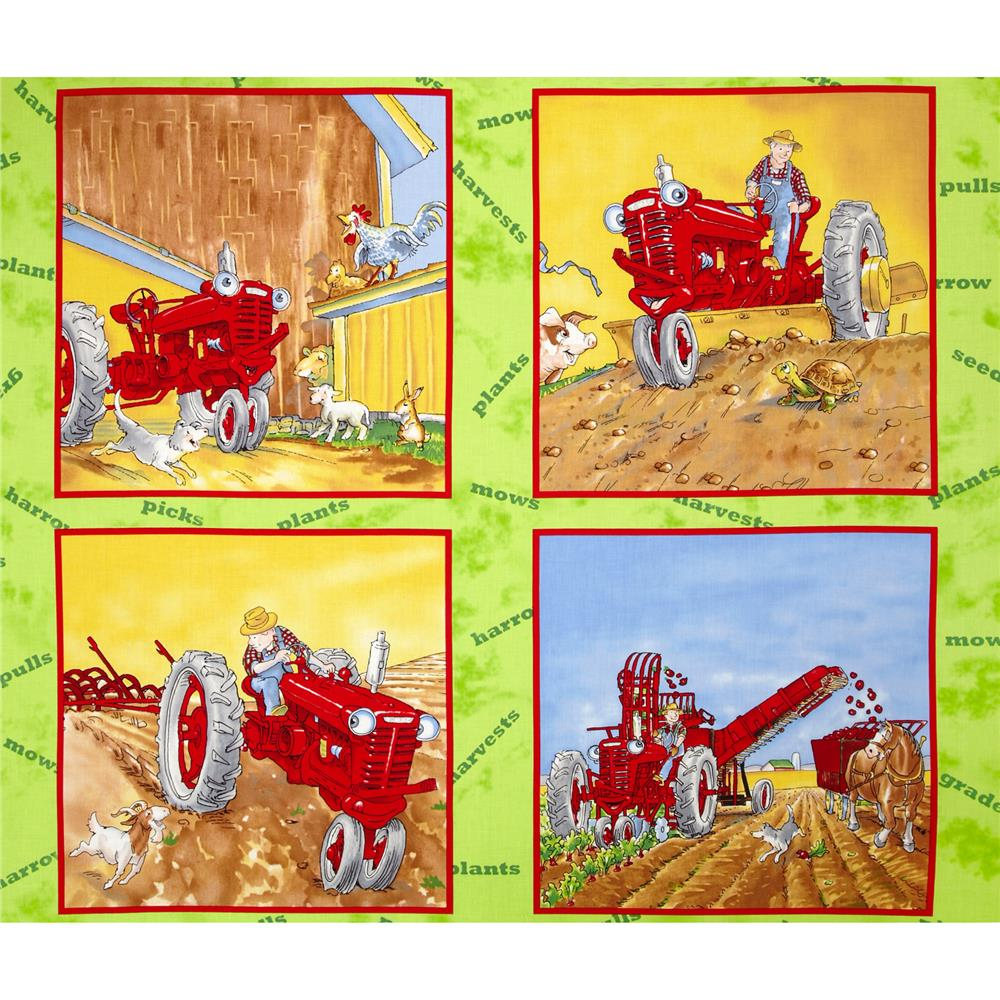 Tractor Mac Pillow Panel Green