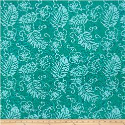 Indian Batik Leaf & Vine Floral Leaf Aqua