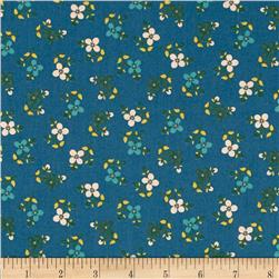 Color Love Flower Bunch Teal Fabric