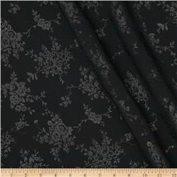 Polyester Embossed Floral Shirting Black