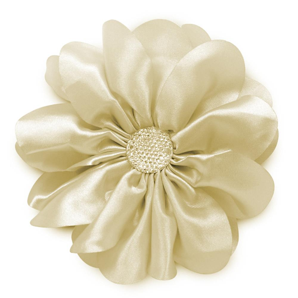 "4-1/2"" Satin Flower Brooch And Hairclip Sparkle Center Ivory"