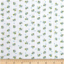 Stretch Pointelle Knit Floral White/Blue