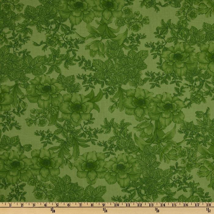 108'' Wide Tonal Bouquet Quilt Backing Green