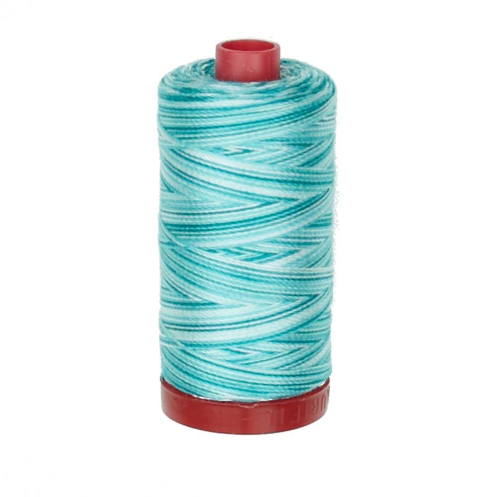Aurifil 12wt Variegated Embellishment and Sashiko Dreams Thread Turquoise Foam