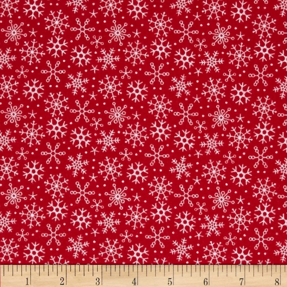 Riley blake santa express flannel snowflake red discount for Quilting material