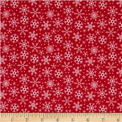 Riley Blake Santa Express Flannel Snowflake Red