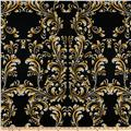 Double Brushed Poly Jersey Knit Swirls Black/Gold