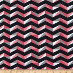 Fashionista Jersey Knit Wide Geo Chevron Coral Fabric