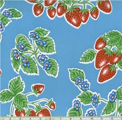 Oilcloth Strawberries Blue
