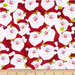 Christmas Flannel Santa Faces Red