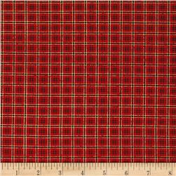 Poinsettia Grandeur Metallic Plaid Red