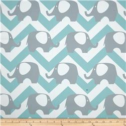 RCA Elephant Chevron Blackout Drapery Fabric Aqua Mist/Grey