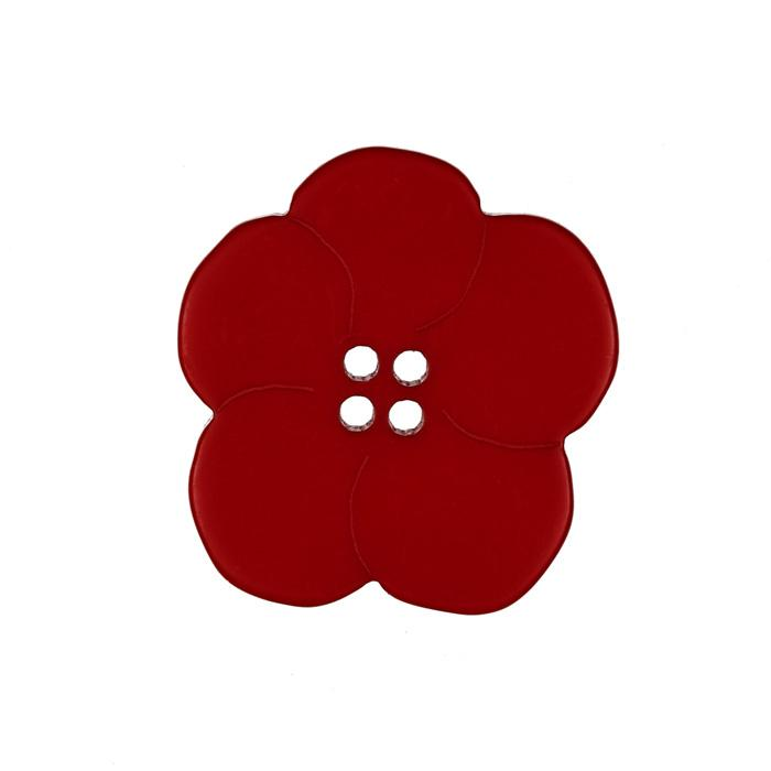 Novelty Button 1 1/2'' Fleurs Red