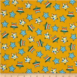 Flannel Novelties Medium Tossed Stars Yellow Fabric