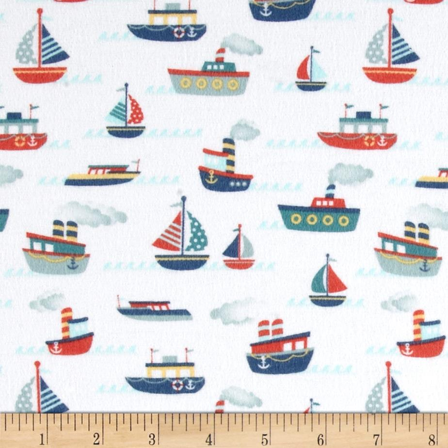 Riley Blake Fly Aweigh Flannel Boat White